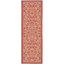 Safavieh Resorts Scrollwork Red/ Natural Indoor/ Outdoor Runner Rug (2'4 x 9'11)