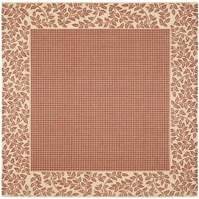 """Safavieh Courtyard Red/ Natural Indoor/ Outdoor Rug - 7'10"""" x 7'10"""" square"""