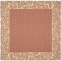 "Safavieh Courtyard Red/ Natural Indoor/ Outdoor Rug - 7'10"" x 7'10"" square"