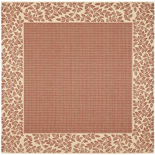 Safavieh Courtyard Red/ Natural Indoor/ Outdoor Rug (6\'7 Square ...