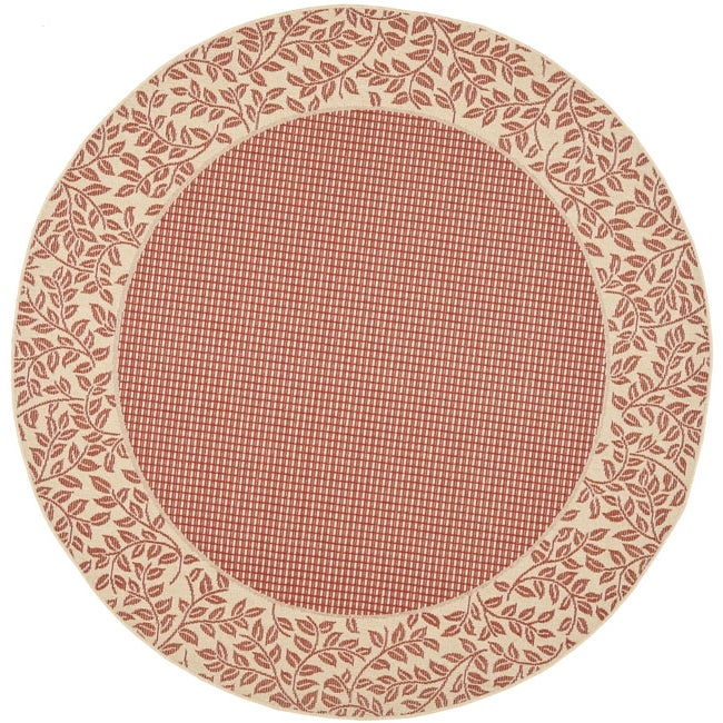 "Safavieh Courtyard Red/ Natural Indoor/ Outdoor Rug (6'7"" Round) - Thumbnail 0"