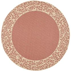 """Safavieh Courtyard Red/ Natural Indoor/ Outdoor Rug - 6'7"""" x 6'7"""" round - Thumbnail 0"""