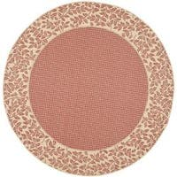"Safavieh Courtyard Red/ Natural Indoor/ Outdoor Rug (6'7"" Round) - 6'7"