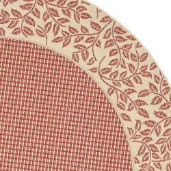 Safavieh Courtyard Red/ Natural Indoor/ Outdoor Rug (5'3 Round) - Thumbnail 1