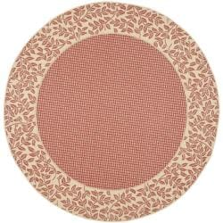"Safavieh Courtyard Red/ Natural Indoor/ Outdoor Rug - 5'3"" x 5'3"" round - Thumbnail 0"