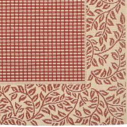 Safavieh Indoor/ Outdoor Border Red/ Natural Rug (9' x 12')