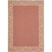 "Safavieh Courtyard Red/ Natural Indoor/ Outdoor Rug (5'3"" x 7'7"") - 5'3 x 7'7"