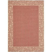 Safavieh Courtyard Red/ Natural Indoor/ Outdoor Rug - 4' x 5'7
