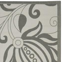 Safavieh Courtyard Bloom Light Grey/ Anthracite Indoor/ Outdoor Rug (8' x 11'2) - Thumbnail 1