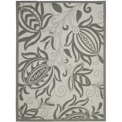 Safavieh Courtyard Bloom Light Grey/ Anthracite Indoor/ Outdoor Rug - 8' x 11'2 - Thumbnail 0