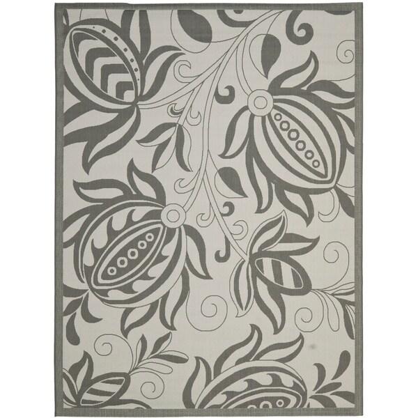 Safavieh Courtyard Bloom Light Grey/ Anthracite Indoor/ Outdoor Rug - 8' X 11'