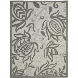 Safavieh Courtyard Bloom Light Grey/ Anthracite Indoor/ Outdoor Rug (6'7 x 9'6)
