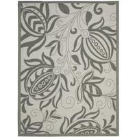 Safavieh Courtyard Bloom Light Grey/ Anthracite Indoor/ Outdoor Rug - 6'7 x 9'6