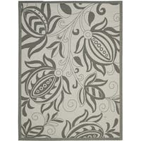 """Safavieh Courtyard Bloom Light Grey/ Anthracite Indoor/ Outdoor Rug - 6'7"""" x 9'6"""""""