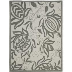 Safavieh Courtyard Bloom Light Grey/ Anthracite Indoor/ Outdoor Rug (5'3 x 7'7)
