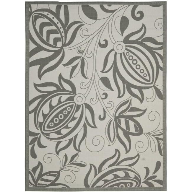 Safavieh Courtyard Bloom Light Grey/ Anthracite Indoor/ Outdoor Rug (4' x 5'7)