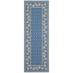 Safavieh Courtyard Palm Tree Blue/ Ivory Indoor/ Outdoor Rug (2'7x 8'2)