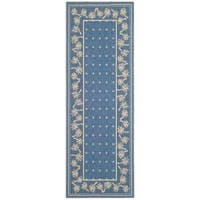 "Safavieh Courtyard Palm Tree Blue/ Ivory Indoor/ Outdoor Rug - 2'7"" x 8'2"""