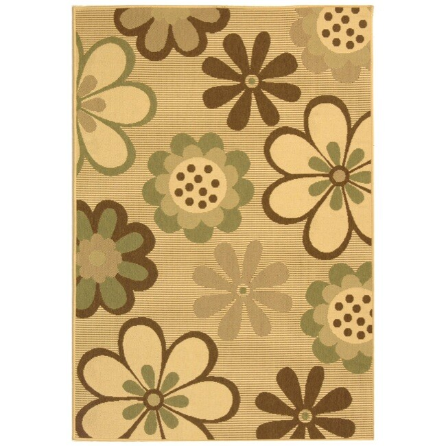 Safavieh Courtyard Flowers Natural/ Olive Green Indoor/ O...