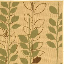 Safavieh Courtyard Foliage Natural/ Olive Green Indoor/ Outdoor Rug (2'7 x 5')
