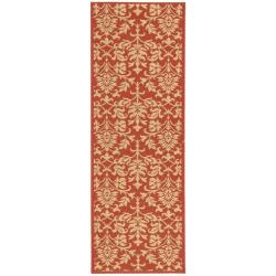 "Safavieh Seaview Red/ Natural Indoor/ Outdoor Runner Rug (2'4"" x 9'11"")"