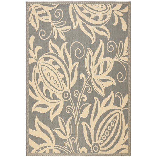 Safavieh Andros Grey/ Natural Indoor/ Outdoor Rug - 8' x 11'2'