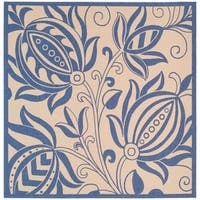 """Safavieh Andros Natural/ Blue Indoor/ Outdoor Rug - 6'7"""" x 6'7"""" square"""