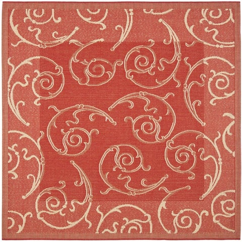 "Safavieh Oasis Scrollwork Red/ Natural Indoor/ Outdoor Rug - 6'7"" x 6'7"" Square"