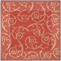"""Safavieh Oasis Scrollwork Red/ Natural Indoor/ Outdoor Rug - 6'7"""" x 6'7"""" square"""