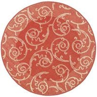Safavieh Oasis Scrollwork Red/ Natural Indoor/ Outdoor Rug (6'7 Round) - 6'7