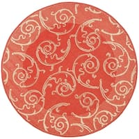 "Safavieh Oasis Scrollwork Red/ Natural Indoor/ Outdoor Rug - 5'3"" x 5'3"" round"