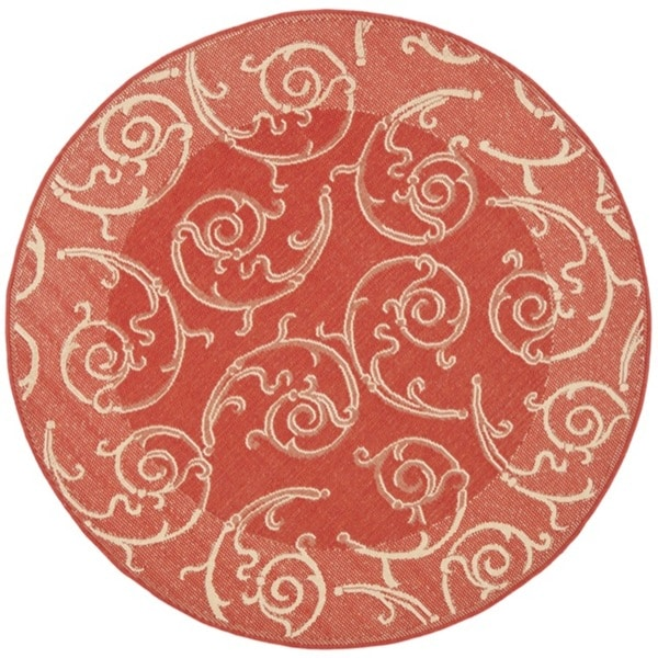 Safavieh Oasis Scrollwork Red/ Natural Indoor/ Outdoor Rug (5'3 Round)