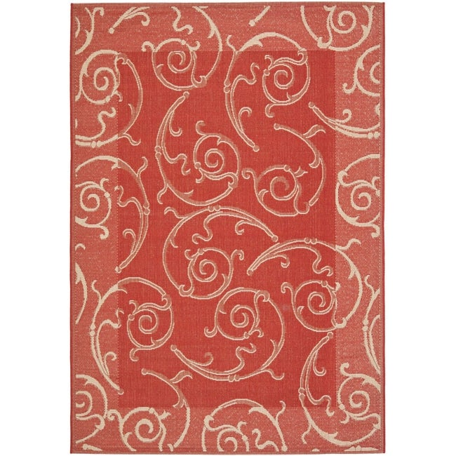 Safavieh Oasis Scrollwork Red/ Natural Indoor/ Outdoor Rug (9' x 12') - Thumbnail 0