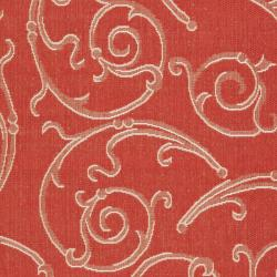 Safavieh Oasis Scrollwork Red/ Natural Indoor/ Outdoor Rug (9' x 12') - Thumbnail 2