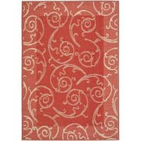 Safavieh Oasis Scrollwork Red/ Natural Indoor/ Outdoor Rug - 9' x 12'