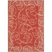 Safavieh Oasis Scrollwork Red/ Natural Indoor/ Outdoor Rug - 8' x 11'2