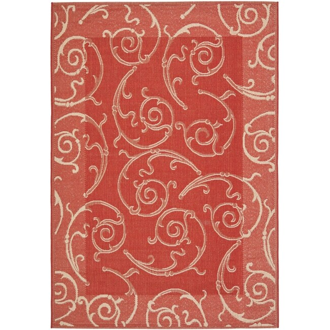 Safavieh Oasis Scrollwork Red/ Natural Indoor/ Outdoor Rug - 6'7 x 9'6