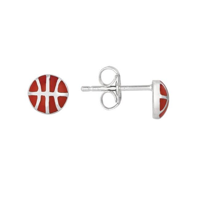 Sterling Silver and Enamel Basketball Earrings