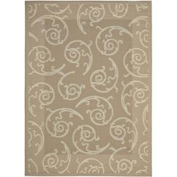 Safavieh Dark Beige/ Beige Geometric Indoor Outdoor Rug (8' x 11'2)