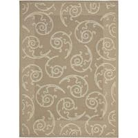 Safavieh Dark Beige/ Beige Geometric Indoor Outdoor Rug - 8' x 11'2