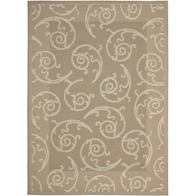 "Safavieh Dark Beige/Beige Indoor/Outdoor Area Rug (6'7"" x 9'6"")"