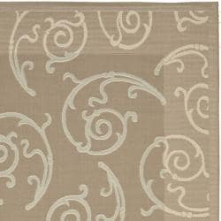 "Safavieh Dark Beige/Beige Indoor/Outdoor Area Rug (6'7"" x 9'6"") - Thumbnail 1"