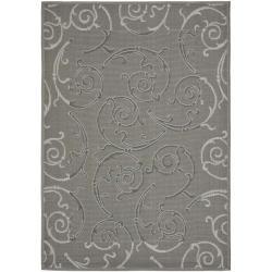 Safavieh Geometric Dark Grey/ Light Grey Indoor/ Outdoor Rug (6'7 x 9'6)