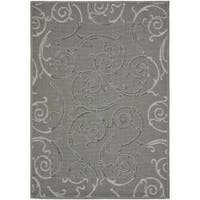 Safavieh Dark Gray/Light Grey Indoor/Outdoor Area Rug - 5'3 x 7'7