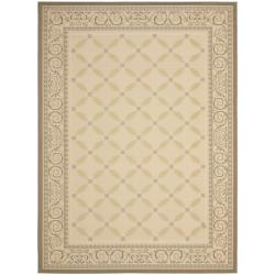 "Safavieh Beige/Dark Beige Indoor/Outdoor Rug with Border (6'7"" x 9'6"")"