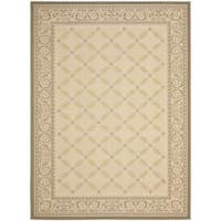Safavieh Beige/Dark Beige Indoor/Outdoor Rug with Border - 6'7 x 9'6