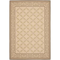 "Safavieh Beige/Dark Beige Indoor/Outdoor Rug with Border - 6'7"" x 9'6"""