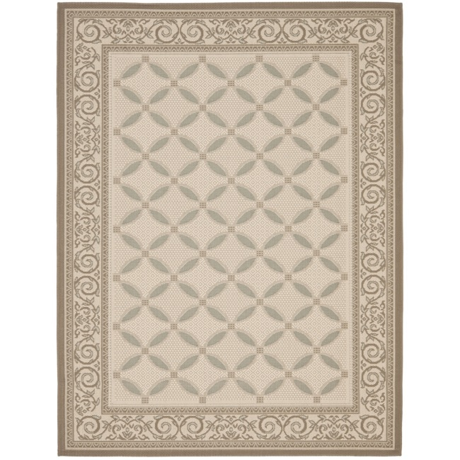 Safavieh Beige/ Dark Beige Indoor Outdoor Rug (5'3 x 7'7)