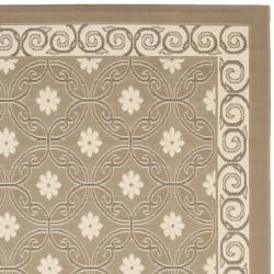 Safavieh Dark Beige/ Beige Indoor Outdoor Polypropylene Rug (8' x 11'2) - Thumbnail 1