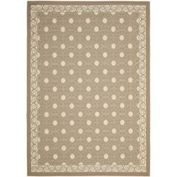Safavieh Dark Beige/ Beige Indoor Outdoor Rug (5'3 x 7'7)